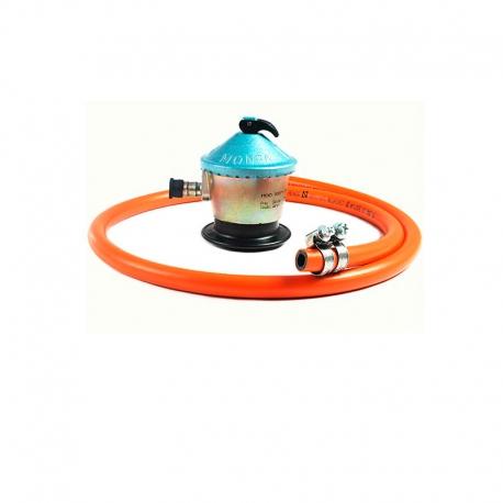 Regulador gas 30 mbar paellero, latiguillo manguera, arandelas. Conjunto Accesorios de Gas 30 mbar.