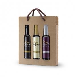 Botellas de aceite para regalo Pack aceite gourmet con 3 botellas de 100 ml monovarietales Mançanella, Blanqueta y Alfafarenca.