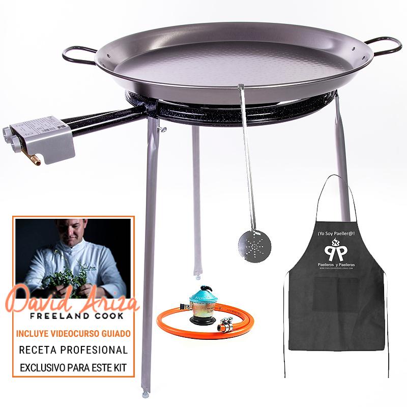 Kit paella 20 raciones paellero aro ancho patas y gas for Patas mesa bricodepot